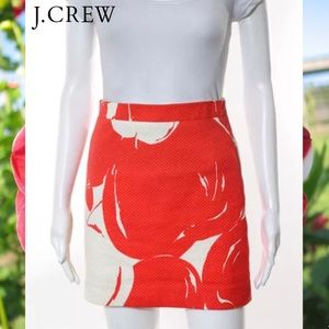 J CREW Chic Red/Wht Abstract Textured Pencil Skirt